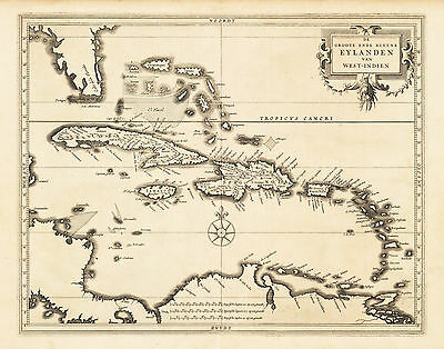 HJB-AntiqueMap : Map of the Caribbean or West Indies By: De Laet 1630