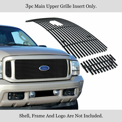 Fits 99-04 Ford F250/F350/Excursion Black Stainless Steel Billet Grille