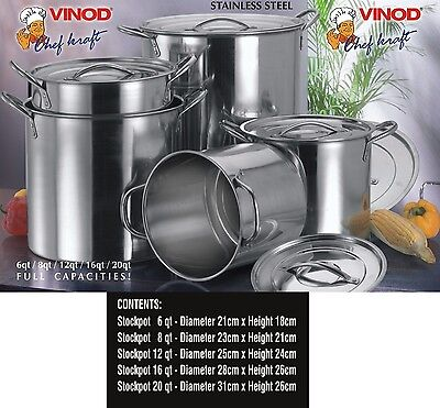 New 5Pc Large Stainless Steel Catering Deep Stock Soup Boiling Pot Stockpots Set