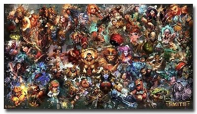 "SMITE Game All Gods Poster on Huge Silk Fabric Canvas 43""x 24"""