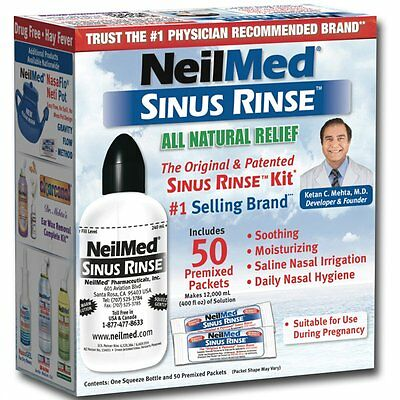 NeilMed Sinus Rinse Natural Relief Kit with 50 Premixed Sachets EXP 06/2019