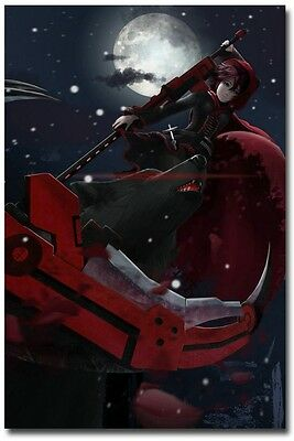 "RWBY Ruby Rose Anime Poster 2 on Huge Silk Fabric Canvas 36""x 24"""