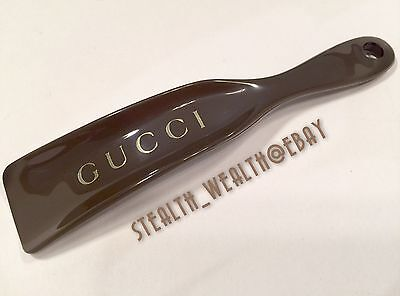 GUCCI Brown Plastic Gold Lettering Shoehorn Shoe Horn Authentic New