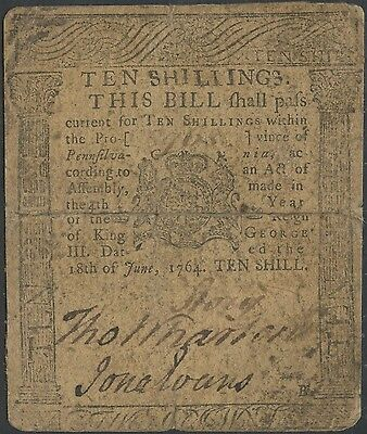 Pa-124 10 Shillings Note Vf Rare 6/18/1764 Printed By Franklin & Hall Wl9801Rs