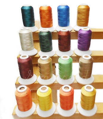 SIMTHREAD Polyester Embroidery Home Machine Thread Spools - 16 Colors, 550Yds/pc