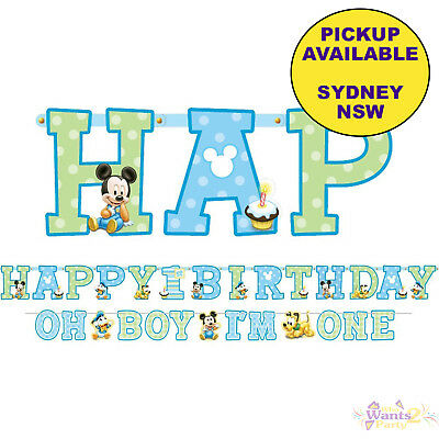 Mickey Or Minnie Mouse 1St Birthday Party Supplies Jumbo Banner Kit Decorations