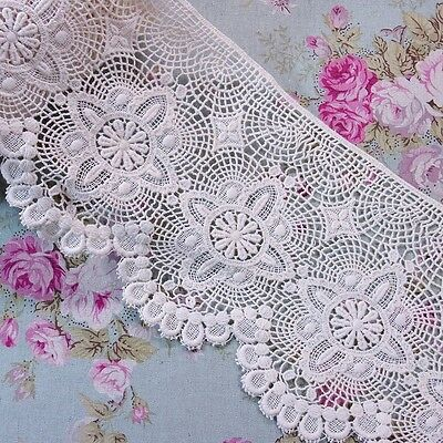 HB167 2 Yards,Cherries Embroidered Cotton Eyelet Lace Trim White 5.5cm Wide