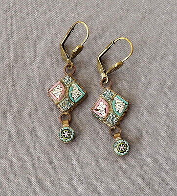 Vintage Victorian Style Drop Dangle Micro Mosaic Pierced Earrings