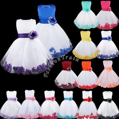 Petal Flower Girl Princess Wedding Party Formal Birthday Kid Bow Dress Size 2-14