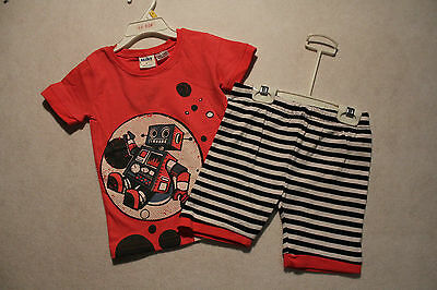 Baby Boy Size 0,1,2 Milky Summer Red Top & Striped Short Sleepwear NWT