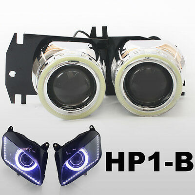 KT LED Angel Eyes Projector for Honda CBR600RR 2007-2012 08 09 10 11 Headlight