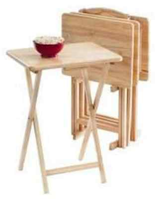 5 Piece TV Tray Table Set Wooden Folding Portable Home Furniture Kids Snack Desk
