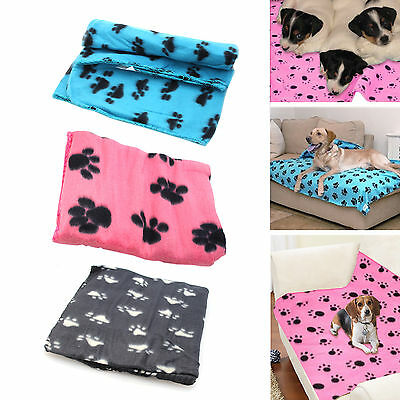 Warm Paw Print Dog Puppy Cat Pig Fleece Soft Blanket Christmas Gift For Pets