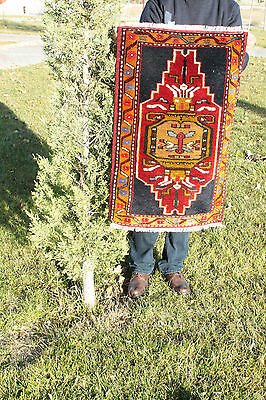 Rare 1'10''x3' Antique Multi-Colored Turkish Tribal Wool Pile Cushion Rug