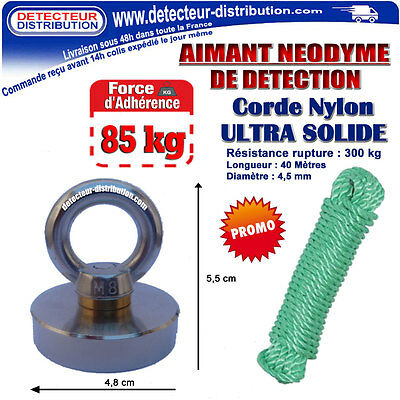 MAGNET Neodymium from detection Adherence 85 Kg + Twine from fishing (978)