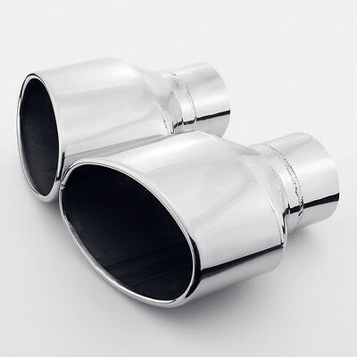 """Pair 3"""" inlet 8"""" Length Angled Oval Stainless Steel Exhaust Tip for Audi RS"""