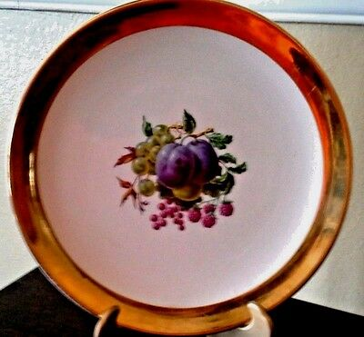 Royal Winton Grimwades England Gold Rimmed China Plate~Plums Grapes & Berries