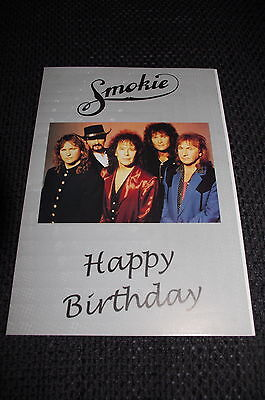 "SMOKIE signed Autogramme auf 15x20 cm Happy ""Birthday Klapp-Karte""  SELTEN!!"