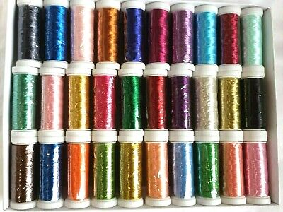 30 Metallic Embroidery Threads Spools, 30 different Colors 400 yard - Great Item