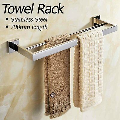Bright Stainless Steel Bathroom Accessories - Double Towel Rail Holder - Square