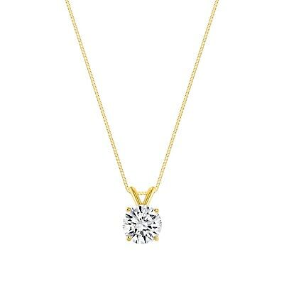 """1.25 Ct Round Brilliant Cut Solid 14k Yellow Gold Solitaire Pendant 18"""" Necklace"""