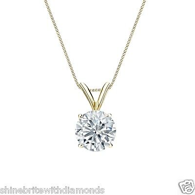 """2.50 Ct Round Brilliant Cut Solid 14k Yellow Gold Solitaire Pendant 18"""" Necklace"""