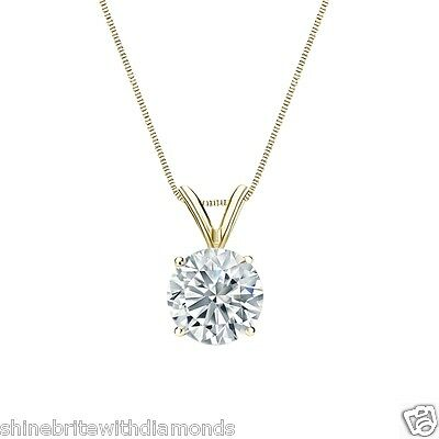 """2.75 Ct Round Brilliant Cut Solid 14k Yellow Gold Solitaire Pendant 18"""" Necklace"""