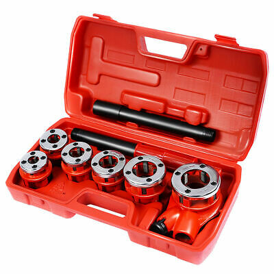 New Ratchet Ratcheting Pipe Threader Kit Set w/ 6 Dies and Storage Case