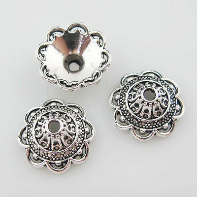 12Pcs Antiqued Silver Tone Flower End Bead Caps For Jewelry Craft DIY 14mm