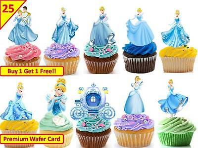 50 CINDERELLA PRINCESS Cup Cake Fairy Edible Wafer Rice Toppers *STAND UP*