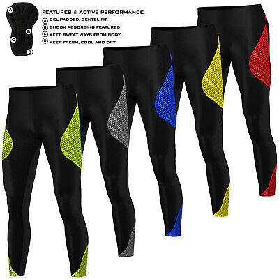 Mens Cycling Tights Trousers Padded  Bicycle Thermal Long Pant Leggings ANTI-BAC