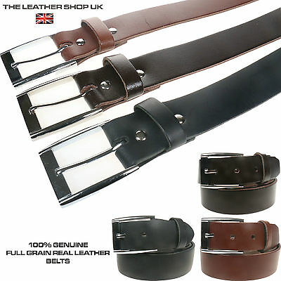 Unisex Black Tan 30mm Full Real Leather Square Silver Buckle Belt Made UK