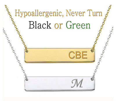 Personalized Monogram Initial Name Bar Necklace Silver Gold Stainless Steel