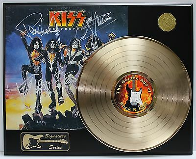 Kiss Destroyer Gold Lp  Ltd Edition Reproduction Signature Record Display