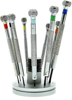SCREWDRIVER SET of 9 WITH STAND and spare blades (sd15)
