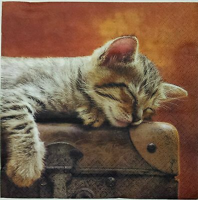 NAPPING KITTY CAT 2 single LUNCH SIZE paper napkins for decoupage 3-ply