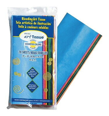 Spectra Deluxe Bleeding Tissue Paper, 20 x 30 Inches, Assorted Colors, 20 Pack