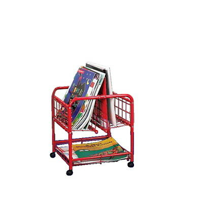 School Specialty Metal Mobile Big Book Browser with 3 Shelves, Red