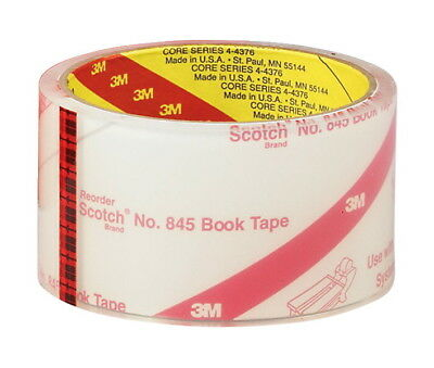 Scotch 845 Book Tape, 3 Inches x 15 Yards, 3 Inch Core, Crystal Clear