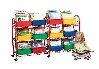 School Specialty Metal Mobile Leveled Library Without Trays, Red