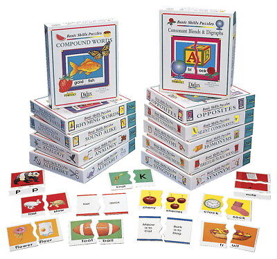 Didax Basic Reading Skills Puzzle Card Set, Set of 11
