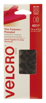 VELCRO Brand Hook and Loop Thin Oval Fasteners, 1-1/4 x 1/2 Inches, Black, Pack