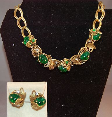 MASTERPIECE Germany Antique Link Necklace w/Emerald Cabachons/Dragons!