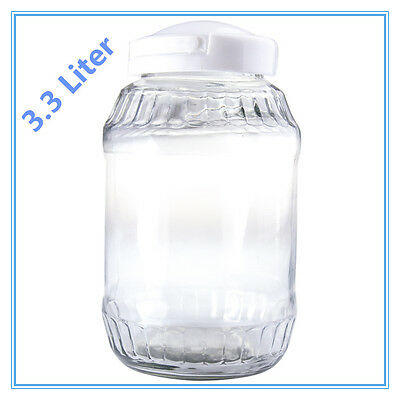 GLASS JAR WITH SCREW PLASTIC LID 3.3lt -IDEAL FOR STORAGE (COOKIE, COFFEE, BEAN)