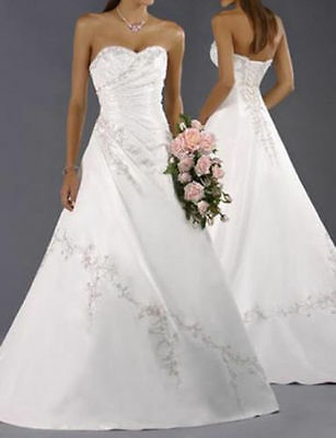 2016 Hot A-Line White/Ivory Wedding Dress Bridal Gown Size 6 8 10 12 14 16