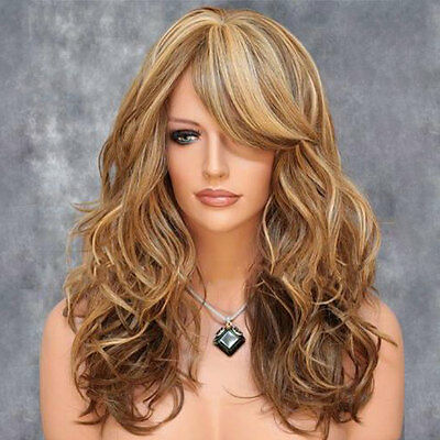 Fashion Women Curly Hair Cosplay Full Wigs with Bangs Blonde Free Shipping