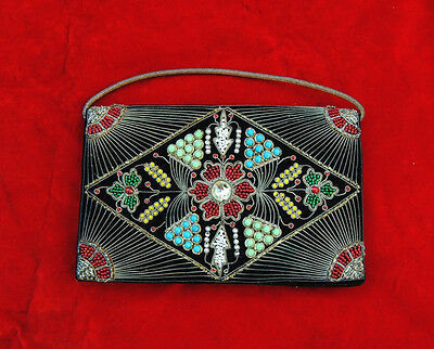 Vintage Islamic Metal & Bead Embroidery Purse Clutch Wallet Bag Ottoman Turkish