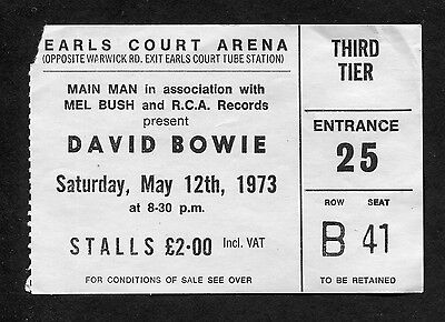 1973 David Bowie Concert Ticket Stub Aladdin Sane Ziggy Earls Court London