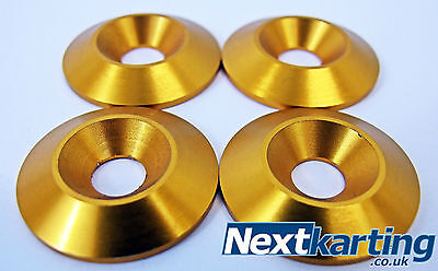 Kart Alloy CSK 30 x 5 x 8mm Seat Washers M8 Gold  x 4 - Tillett - NextKarting