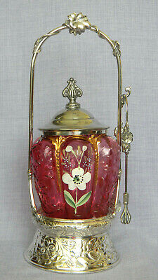 Antique VICTORIAN PICKLE CASTOR Cranberry Flower Insert in Silverplate holder